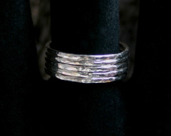 Sterling Silver stack rings. Hammered skinny silver stacking rings. Choose black or natural silver. Single or Set US 8 to 13 ~ UK Q to Z 1/2