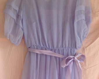 80's Vintage Lilac Lavendar Bridesmaid / Prom 2 Matching Dresses / Gowns