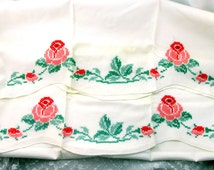 Standard Pillow Case Set Standard Size Hand Cross Stitched Red Roses With Greenery White Cotton Cottage Chic Vintage Collectible Item 1715