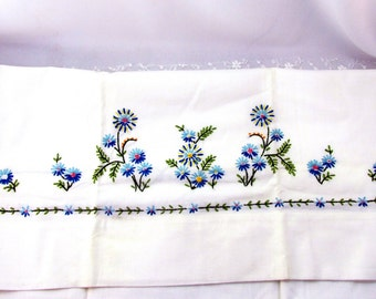 Vintage Pillow Case One Standard Size Cross Stitched Blue Floral White Cotton One Pillow Case Cottage Chic Collectible Item 1716