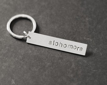 Alohomora Keychain, Hand Stamped Keychain, Stocking Stuffer, Geeky Keychains, Geeky Keyrings, Geeky Gifts, Geek Gift, Gift Under 15
