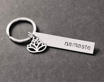 Namaste Keychain with Charm, Hand Stamped Keychain, Zen Keychain, Yoga Gift, Lotus Keychain, Lotus Charm, Stocking Stuffer, Gift Under 15