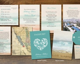 Passport Wedding Booklets |  Cabo San Lucas | Luggage Tag  | Turquoise Teal | Love Heart | Destination Weddings | Mexico |  Punta Cana