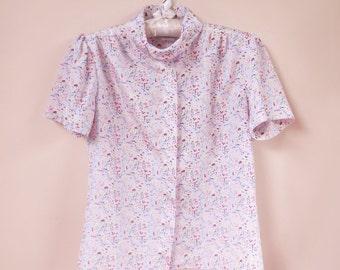 vintage 1970s floral rayon blouse