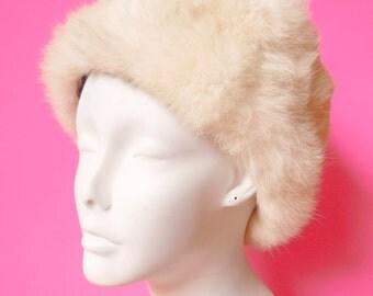 vintage white rabbit fur hat