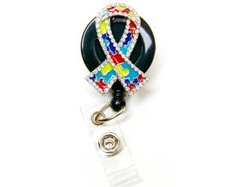 Autism Ribbon Retractable Badge Reel ID Badge Holder