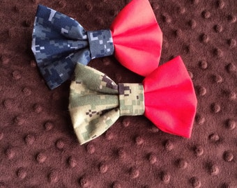 Red Friday Hair bow in your choice of camo