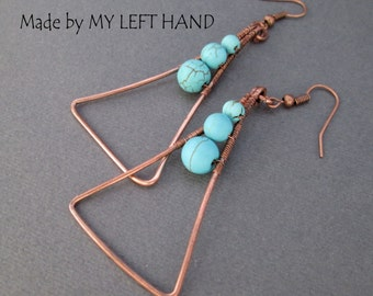 Turquoise And Copper Earrings Triangle Earrings, Turquoise Earrings Copper Jewelry Geometric Earrings Dangle earrings Turquoise jewelry