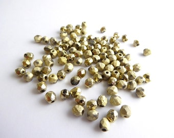 120 x Crystal Gold Etched Round Beads, Czech Glass Beads 4mm, Etched Round Beads, 4mm Gold Beads RND0248