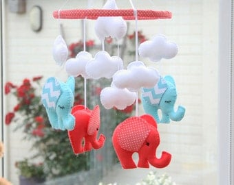 Nursery Elephant Mobile - Coral  Elephant mobile -  Baby  Gift - MADE To Order