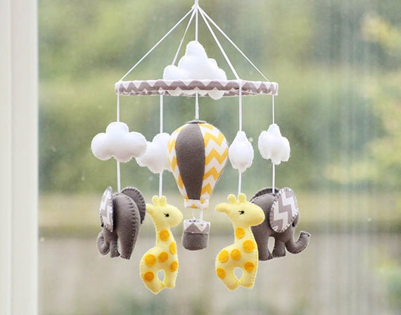 Baby Mobile - Baby Elephant Mobile - Baby Nursery Mobile - Elephant Giraffe Mobile - Yellow Grey Mobile - Made To Order