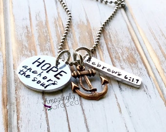 Hope Anchors The Soul Hebrews 6:19 Religious Faith Christian Scripture Inspirational Hand Stamped Aluminum Copper Charm Pendant Necklace