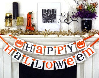 Halloween Banner Halloween Decoration Garland Sign Fall Party Decor Orange and Black
