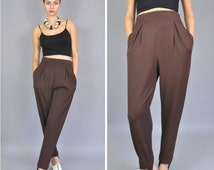 Vintage EMANUEL UNGARO High Waisted Brown Trousers - 1990s 90s Stirrup Equestrian Stretch Bolero Pants - Women's 4 6 8