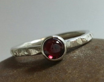 Sterling Silver 925 Textured Stacker Ring with Garnet Cabochon (Made-to Order) By SilverbirdDesignsUK