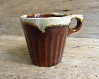Vintage Monmouth Pottery Brown Dripware Mug / USA Pottery Mug / Brown Drip Ware Mug