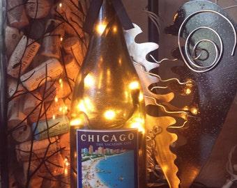 Vintage Chicago Postcard Wine Bottle Light