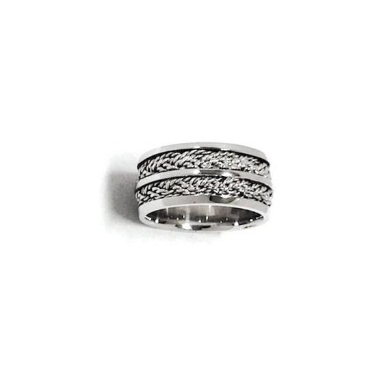 Men Wedding Ring Weddings Band White Gold Hand Woven By Nautigold