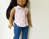 Reserved for Tanya - American Girl Doll Clothes - Pink Floral Swiss Dot Fully Lined Sleeves Blouse
