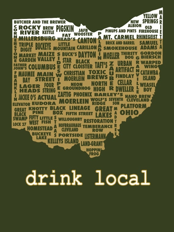 Drink local ohio beer t shirt by uncomfortableyeti on etsy for Local t shirt print shops