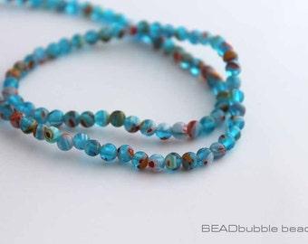 4mm Aqua Blue Millefiori Beads Round 35cm Strand (approx 95 beads) MIL020