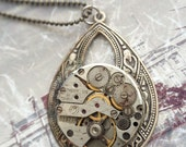 Steampunk watch necklace silver Handcrafted artistic jewelry -The Victorian Magpie