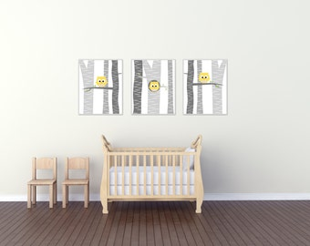 Baby Boy Owl Nursery Wall Art Print, Baby Boy Owls in a Tree, Suits Yellow and Grey Nursery, Baby Boy Nursery Decor- N1529,1530,1531