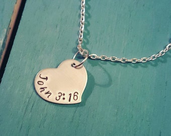 Bible Verse Necklace - Custom Bible Verse Jewelry - Personalized Heart Necklace