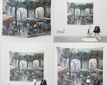 Art Tapestry Wall Tapestry Photo Tapestry / Large Wall Art Wall Hanging / Design from Impressionist-Style Painting of Italian Market Scene