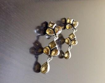 Yellow Citrine Earrings - Citrine Drop Earrings - Dangling Earrings - Pear Shape Citrine Earrings - Chandelier Earrings - Art Deco Earrings