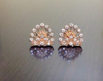 Rose Gold Diamond Earrings - 14K Rose Gold Art Deco Earrings - Handmade Earrings - 14K Diamond Earrings - Rose Gold Diamond Stud Earrings