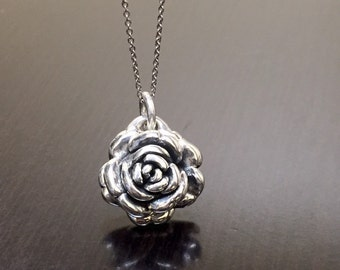 Rose Necklace - Silver Rose Pendant - Silver Necklace - Silver Pendant - Rose Pendant - Handmade Necklace - Sterling Silver Handmade Rose