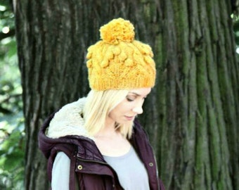 Cable Knit Hat - Alafoss Lopi - Icelandic Wool Hat - Pom-Pom Hat For Women - Bobble Hat