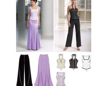 Fitted Formal Two Piece Dress, Halter Top, Pants, Floor Length Skirt Sewing Pattern Misses Size 6, 8, 10, 12, 14, 16 Uncut New Look 6584