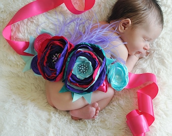 Purple, Turquoise and Hot Pink Maternity/Newborn Sash