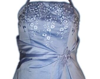 Mori Lee Cornflower Blue Pale Lavender Perwinkle Floral Halter Prom Dress