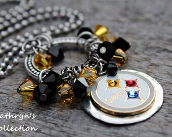 Pittsburgh Steelers Necklace, Steelers Necklace, Steelers Jewelry, Steelers Fan Wear, Football Jewelry