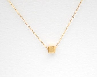 Cube Necklace - 14 K Gold Filled Chain, Square Necklace, Tiny Gold Necklace, Geomatric Necklace, Minimalist Jewelry