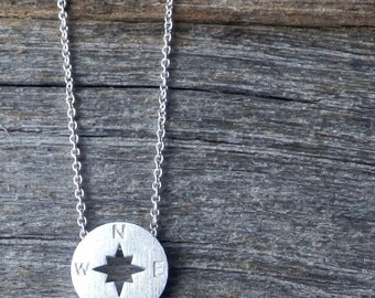 Silver Compass Rose Necklace. Dainty Silver Plated Necklace. Simple Necklace. Minimalist Jewelry. Elegant Necklace. Delicate.