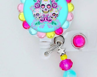 Aqua and Pink colorful skull  ID badge reel (E18)