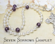 SEVEN SORROWS Chaplet with Pardon Crucifix with Ice White Pearls and Amethyst Our Father beads.