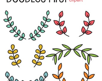 Leaf Flourishes Digital Clip Art for Scrapbooking Card Making Cupcake Toppers Paper Crafts