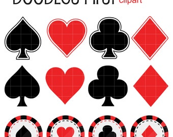 Playing Card Suits Digital Clip Art for Scrapbooking Card Making Cupcake Toppers Paper Crafts