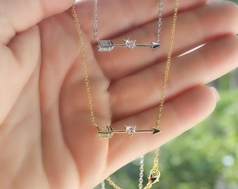 Tiny arrow with cubic zirconia heart necklace silver or gold plated gift