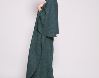 Wool Cape, Cape Cardigan, Wrap Cape, Cape Coat, Blue Green, Wool Cloak, Autumn, Winter, Long Cape, Wool Cardigan