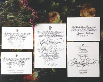 Calligraphy Wedding Invitation AND RSVP Design-hand-lettered, download-printable-Handmade-Made to Order-unique wedding-exclusive bespoke