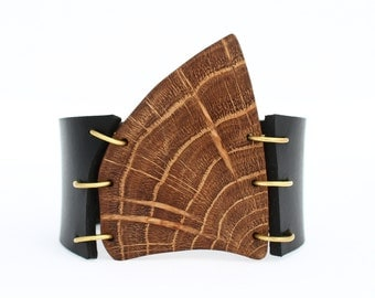 Wooden leather cuff bracelet, unique wristband, wood cuff, OOAK leather cuff