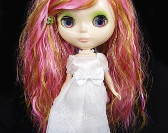 Pink and blonde Side Swept Curly Wig for Blythe and American Girl Dolls