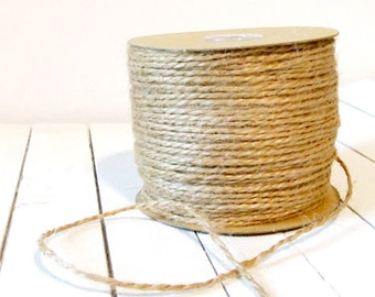 100 YD x 1 1/2 mm Burlap Jute Rope Twine - Perfect for gift wrapping and embellishments - 1 Roll