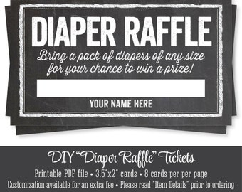 Printable Diaper Raffle Tickets - Chalkboard Baby Shower Game - Bring A Pack of Diapers - INSTANT DOWNLOAD